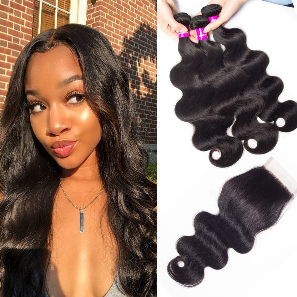 Tinashe hair 3 bundles Brazilian body wave with closure