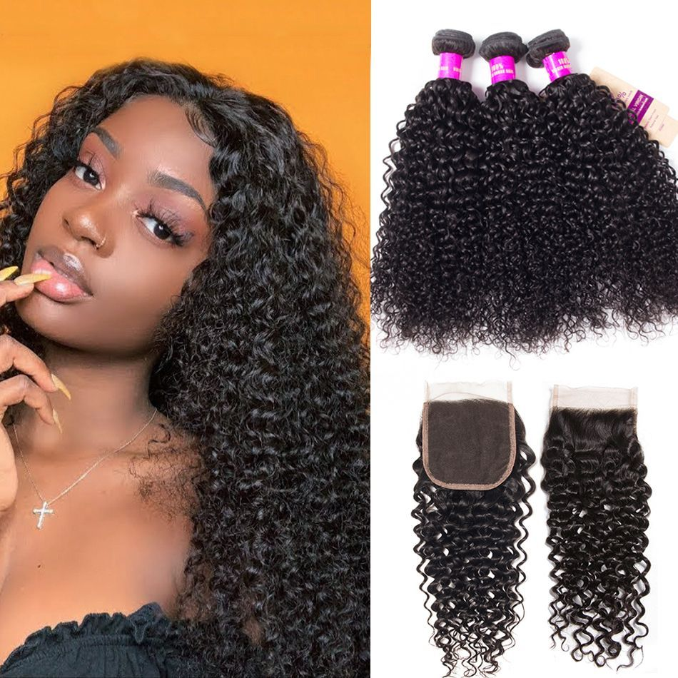 brazilian curly hair 3 bundles with closure