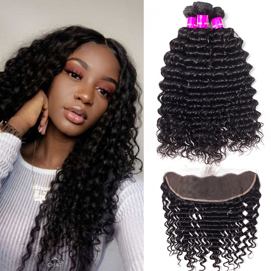 brazilian deep wave 3 bundles with frontal
