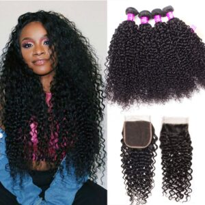 Peruvian curly hair 4 bundles with closure