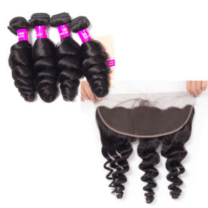 peruvian loose wave 4 bundles with frontal