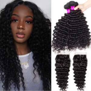 tinashe hair peruvian deep wave 4 bundles with closure