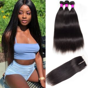 tinashe hair peruvian straight 3 bundles with closure