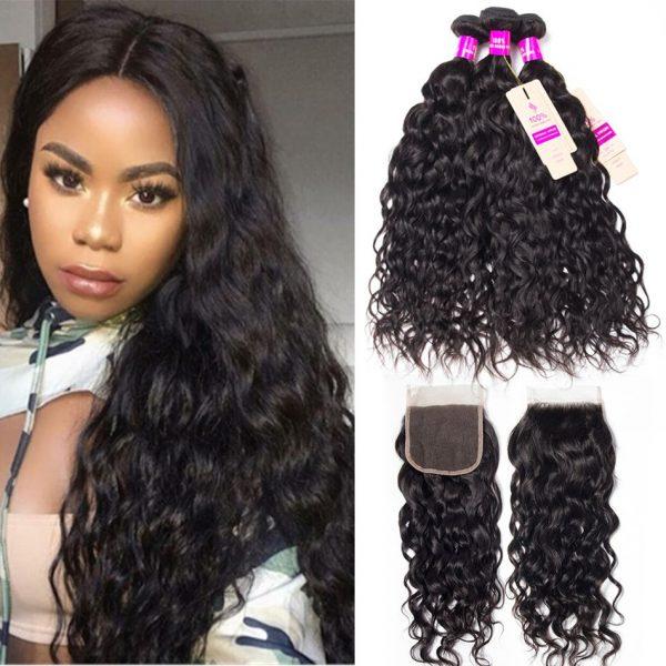 tinashe hair peruvian water wave 3 bundles with closure