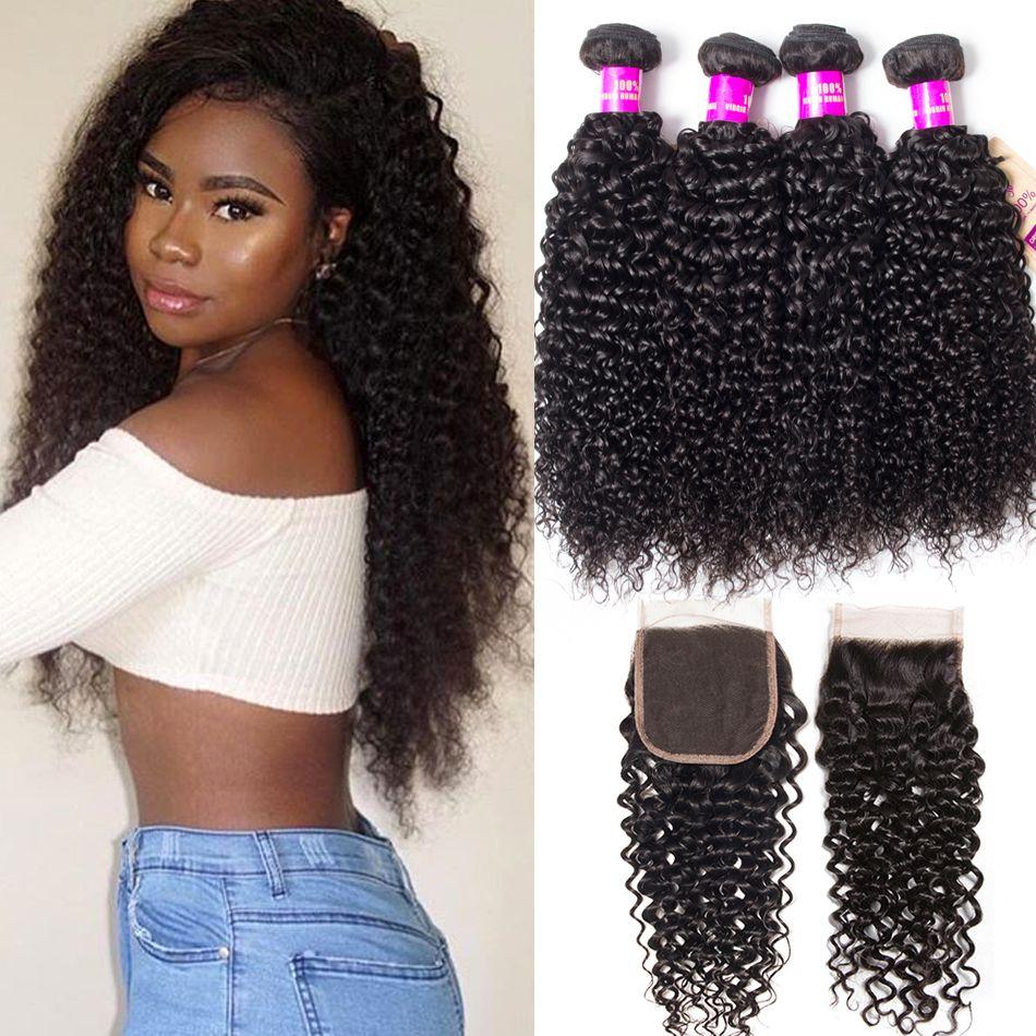 Malaysian curly hair 4 bundles with closure