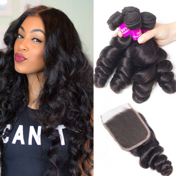 tinashe hair loose wave 4 bundles with closure
