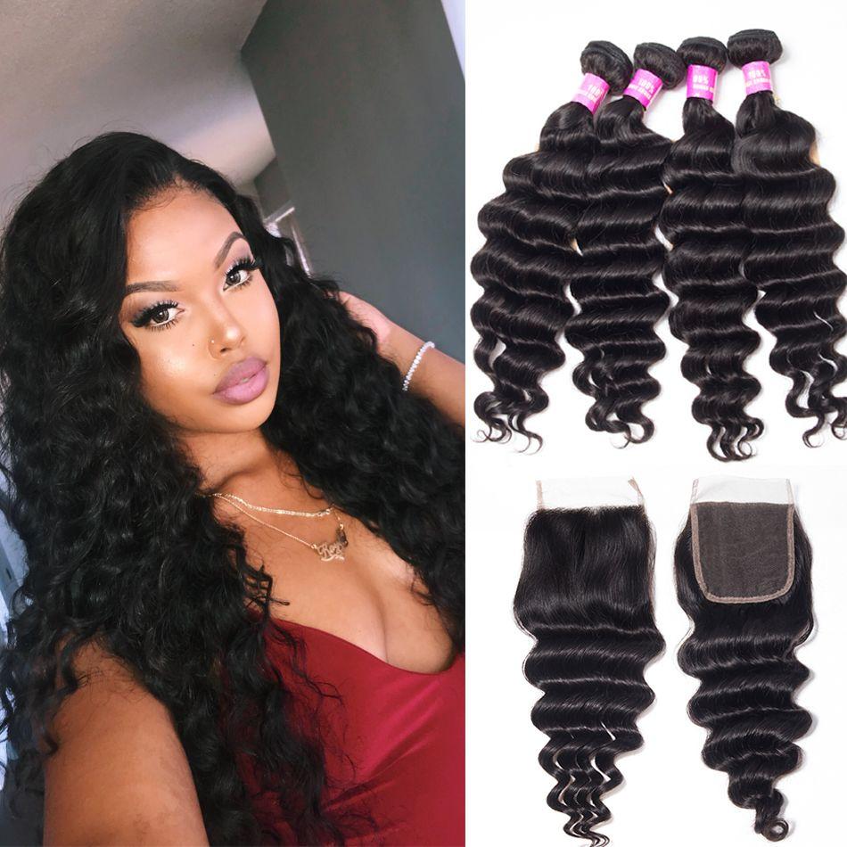 tinashe hair malaysian loose deep 4 bundles with closure