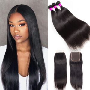 tinashe hair malaysian straight 3 bunldes iwth closure