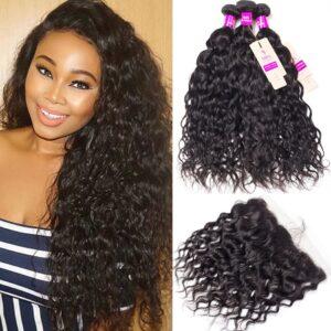 tinashe hair malaysian water wave 3 bundles with frontal
