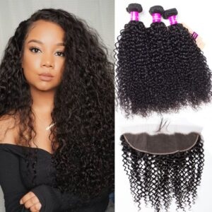 Indian curly hair 3 bundles with frontal