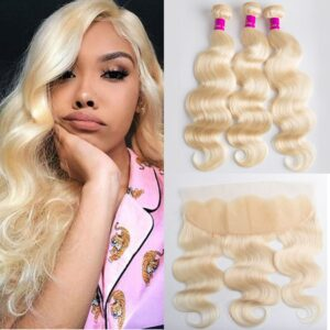 Tinashe hair 613 blonde body wave 3 bundles with frontal