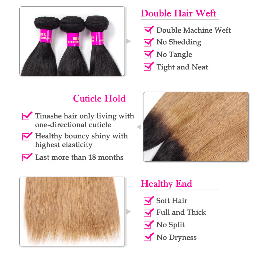 Tinashe hair 1b/27 ombre straight human hair bundles
