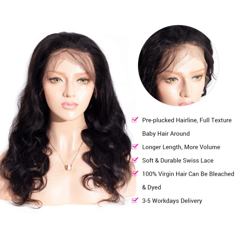 13x4 body wave lace front wig details