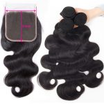 Tinashe hair body wave bundles with 5x5 lace closure