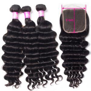 Tinashe hair loose deep 3 bundles with 5x5 lace closure