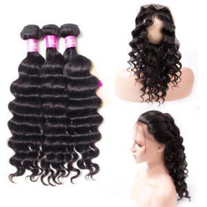 Tinashe hair loose deep bundles with 360 frontal
