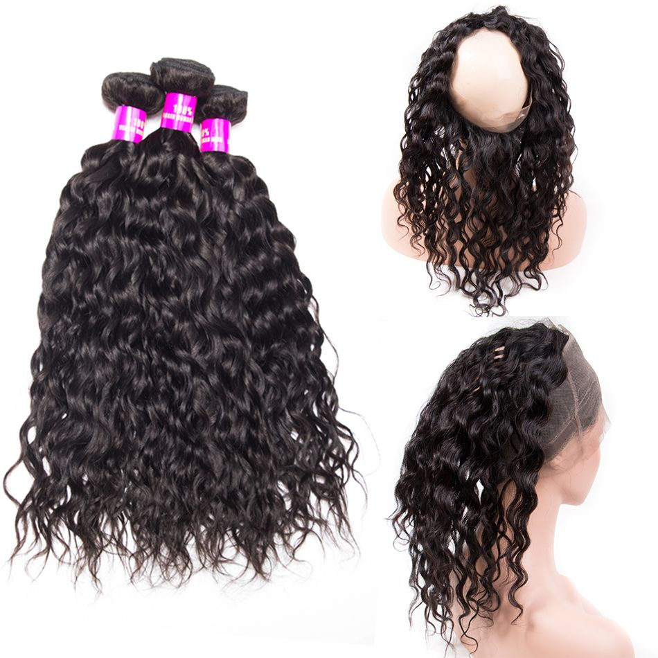 Tinashe hair water wave bundles with 360 frontal