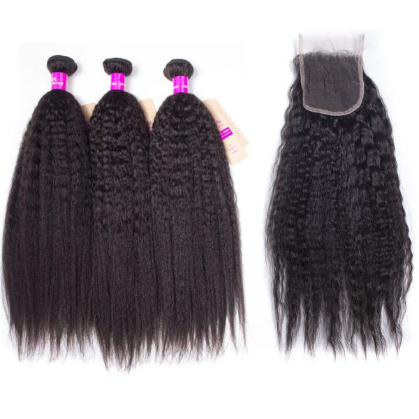 kinky straight hair bundles with 4x4 lace closure