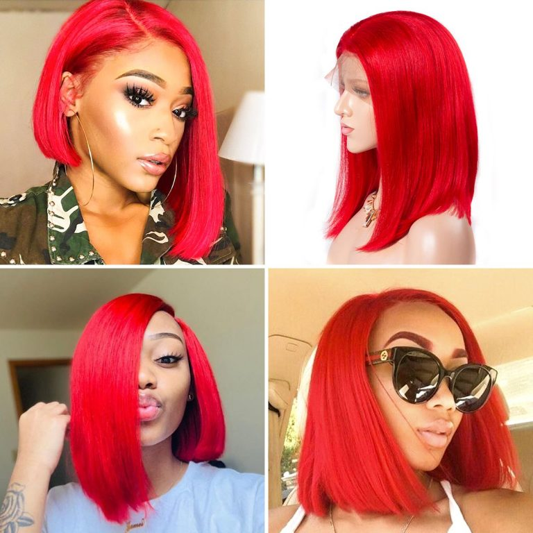 1 colorful short bob striaight hair wigs red