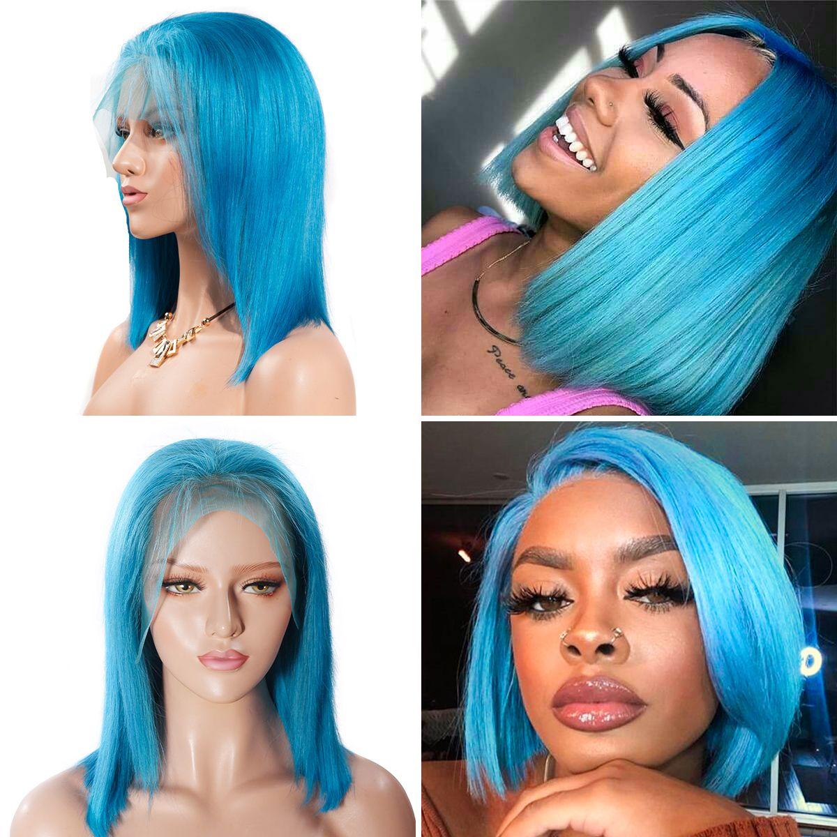 Colorful 13x6 Short Bob Straight Hair - Blue
