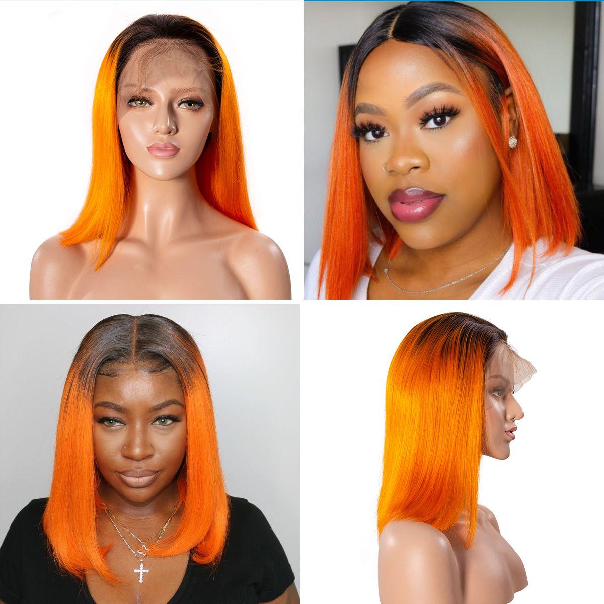 Colorful 13x6 Short Bob Straight Hair - 1B/Orange