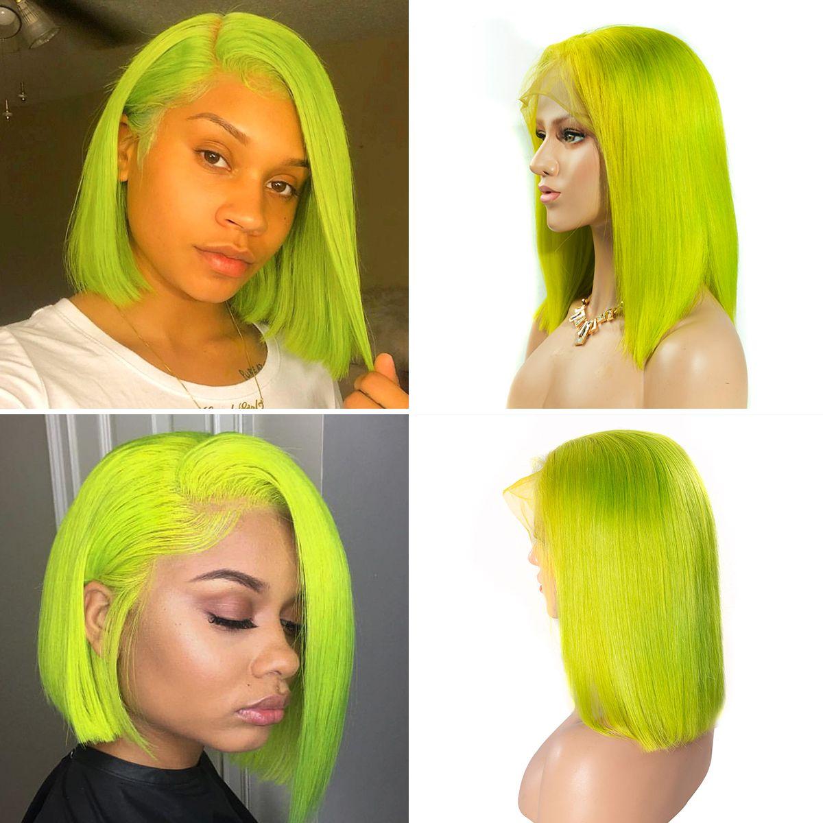 Colorful 13x6 Short Bob Straight Hair - Apple Green