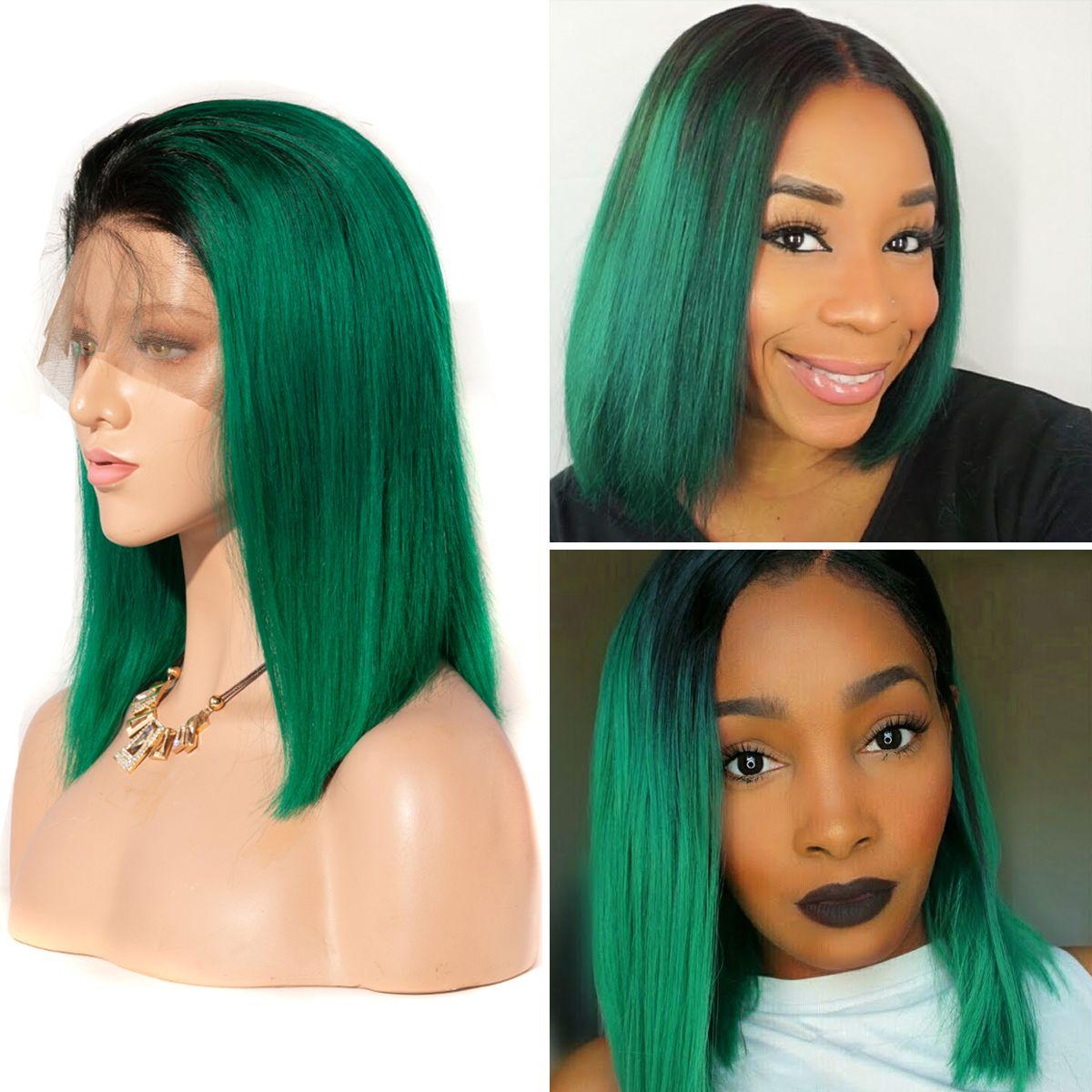 Colorful 13x6 Short Bob Straight Hair - 1B/Green