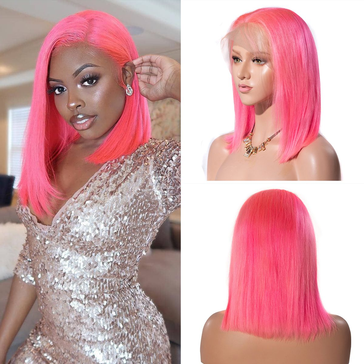 Colorful 13x6 Short Bob Straight Hair - Pink