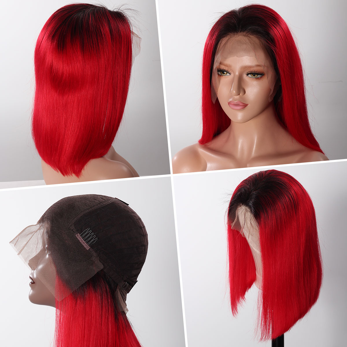 Colorful 13x6 Short Bob Straight Hair - 1B/Red
