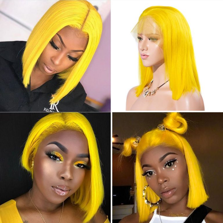 5 colorful short bob striaight hair wigs Yellow