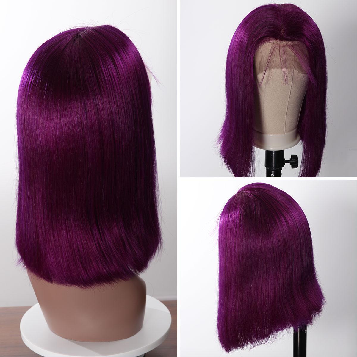 Colorful 13x6 Short Bob Straight Hair - Purple