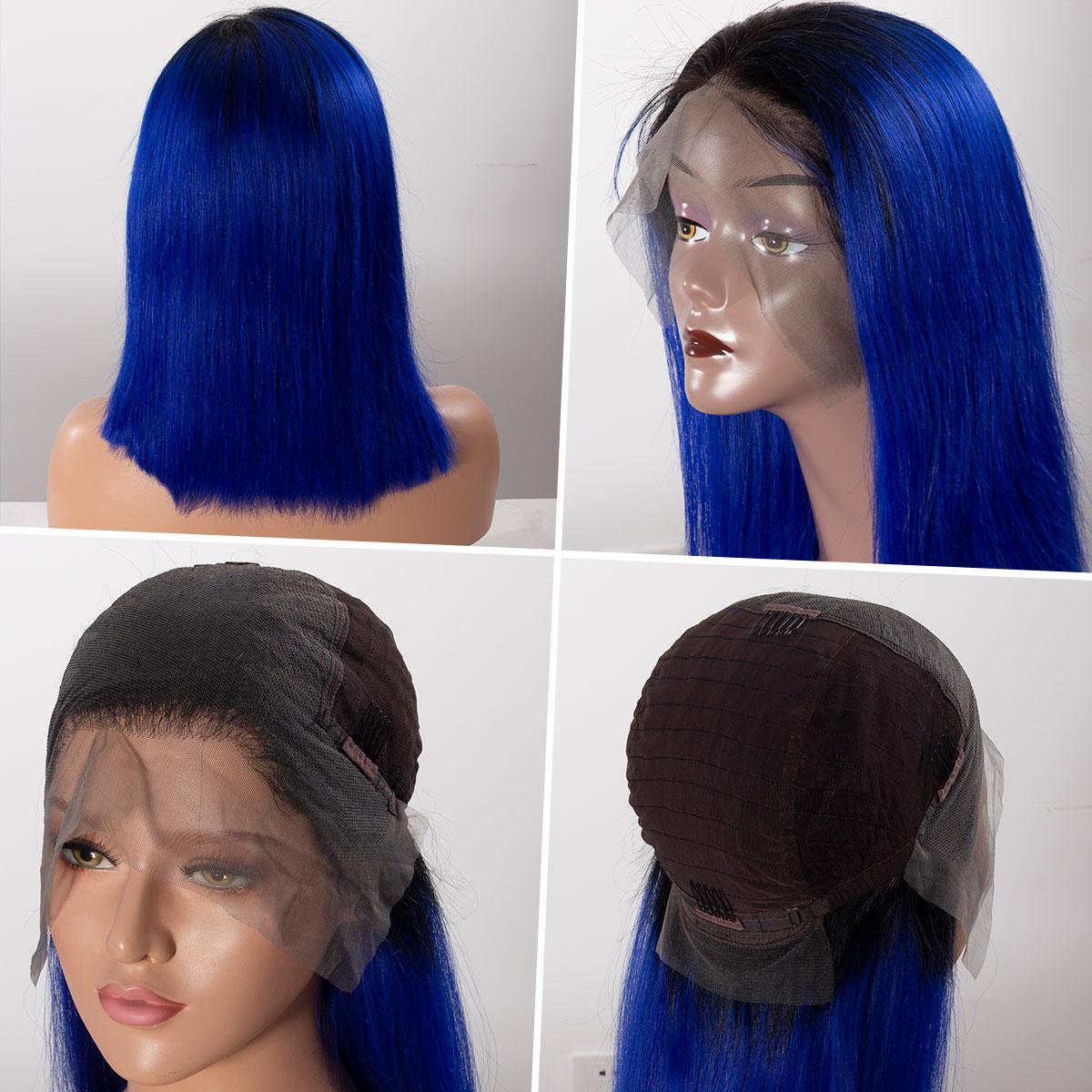 Colorful 13x6 Short Bob Straight Hair - 1B/Royal Blue