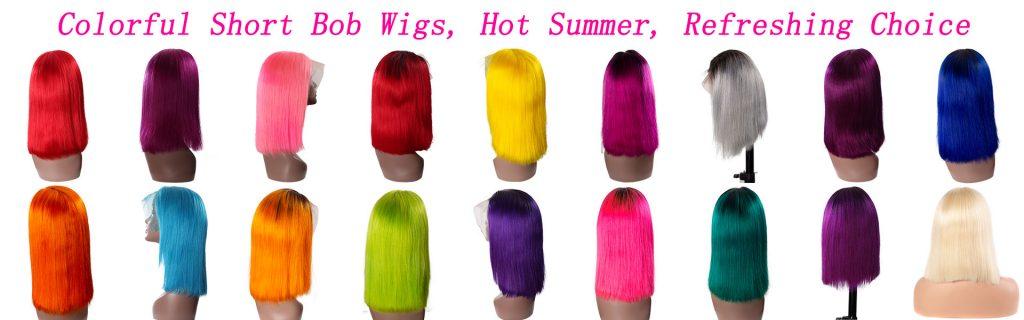 Colorful Short Bob Wigs, Hot Summer, Refreshing Choice
