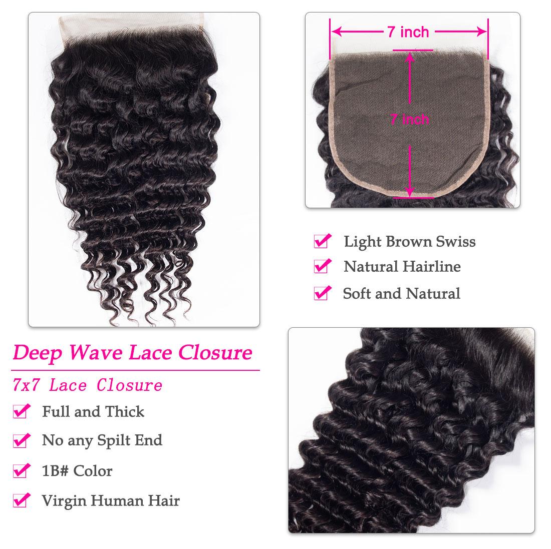 7x7 deep wave lace closure