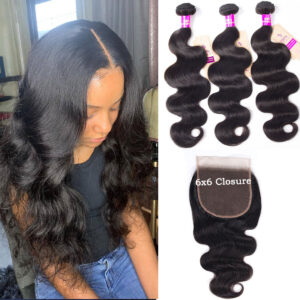 tinashe hair 6x6 body wave closure with bundles