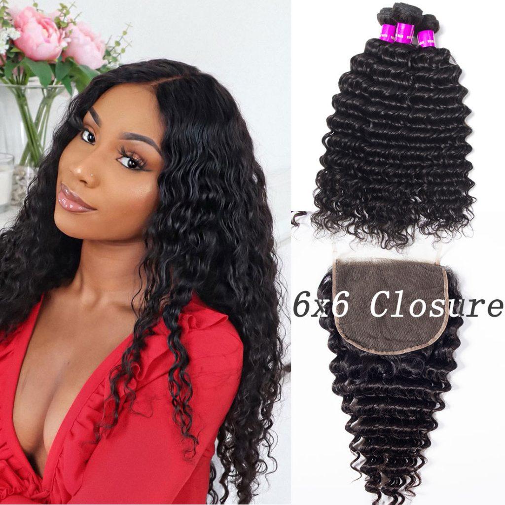 deep wave bundles with 6x6 lace closure