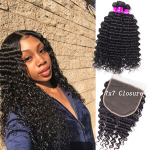 7x7 deep wave lace closure with bundles