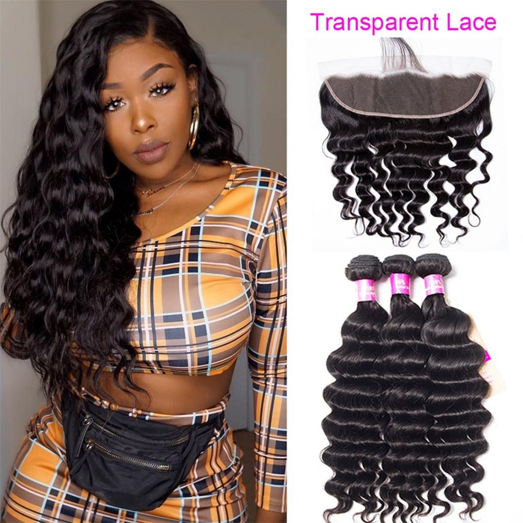 loose deep hair with transparent lace frontal