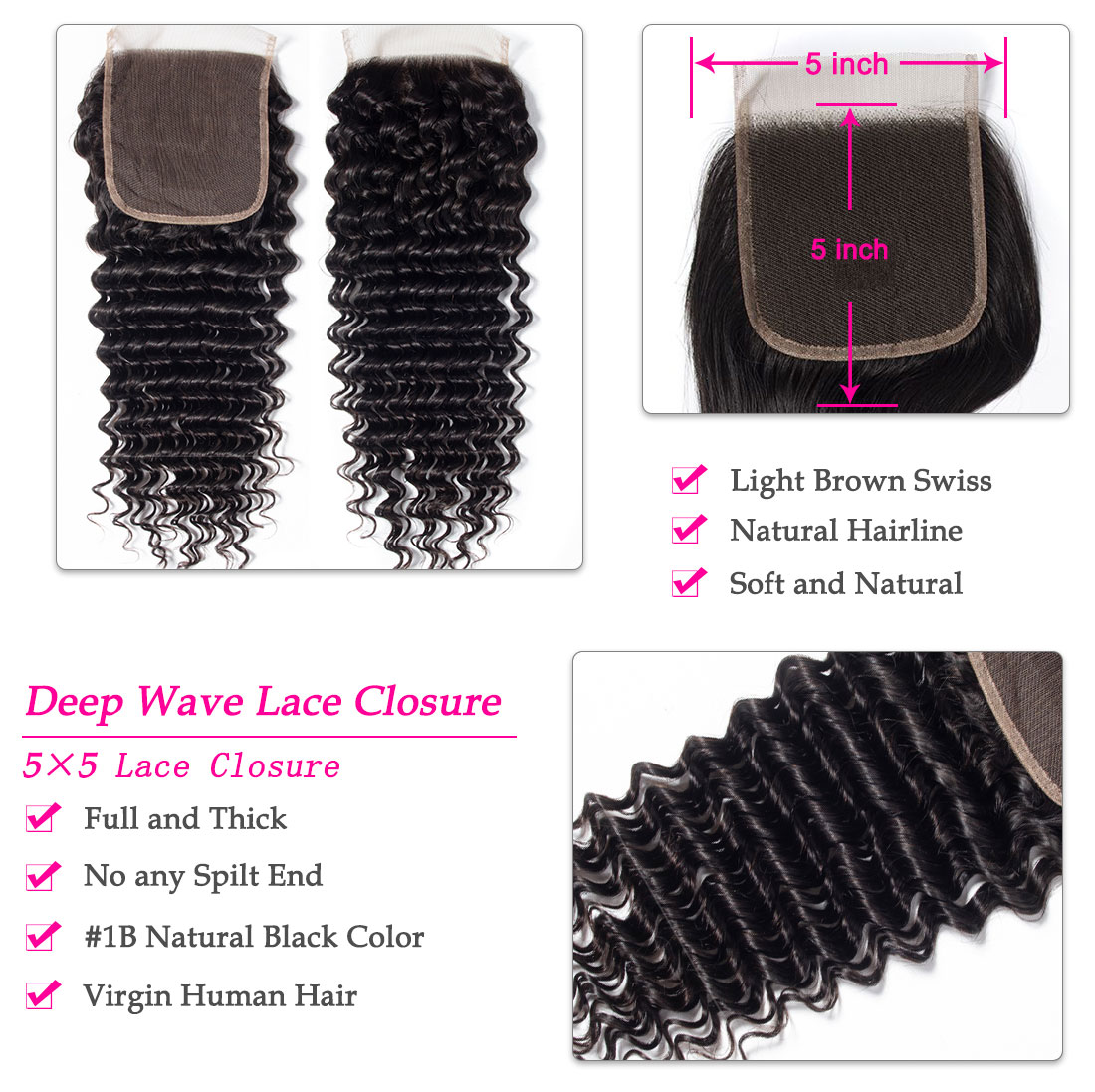 5x5 deep wave lace closure