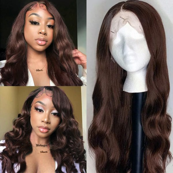 Brown body wave lace front wig