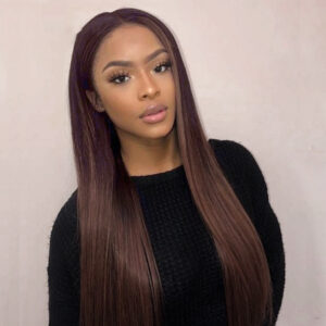 brown straight lace front wig