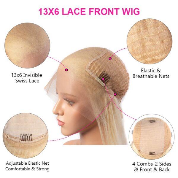 613 blonde 13x6 wig detail