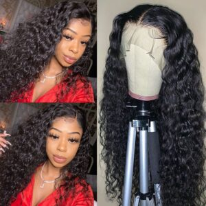Water wave lace front wig high density